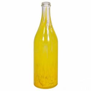 """Бутылка стеклокрошка """"Желтая"""" 1 литр, с пробкой"""